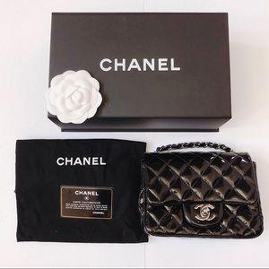 Chanel mini square classic flap patent leather bag
